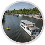 Boats On River Dee Round Beach Towel