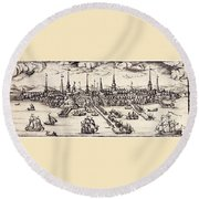 Boston, 1743 Round Beach Towel