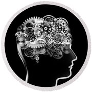 Brain Design By Cogs And Gears Round Beach Towel