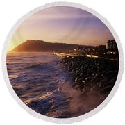 Bray Promenade, Co Wicklow, Ireland Round Beach Towel