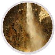 Bridal Veil Falls At Yosemite Round Beach Towel