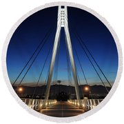 Bridge To Twilight Round Beach Towel