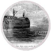 British Prison Ship, 1770s Round Beach Towel