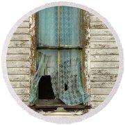 Broken Window In Abandoned House Round Beach Towel by Jill Battaglia