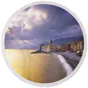 Buildings Along The Coast At Sunset Round Beach Towel