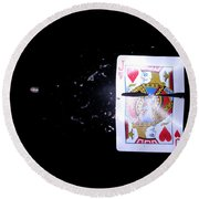 Bullet Hitting A Playing Card Round Beach Towel