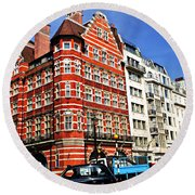 Busy Street Corner In London Round Beach Towel by Elena Elisseeva