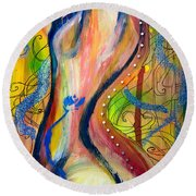 Butterfly Caught II Round Beach Towel