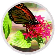 Butterfly Flowers Round Beach Towel