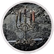 Candle Holder And Sword Round Beach Towel by Joana Kruse