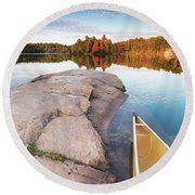 Canoe At A Rocky Shore Autumn Nature Scenery Round Beach Towel