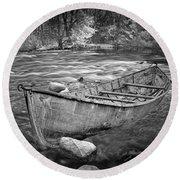 Canoe On The Thornapple River Round Beach Towel