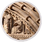 Carved Stone Biblical Mural Above Catholic Cathedral Doorway Round Beach Towel