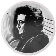 Cash In Black And White Round Beach Towel