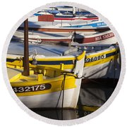Cassis Boats Round Beach Towel