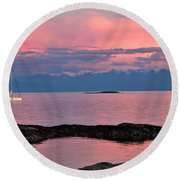 Cattle Point And The Strait Of Juan De Fuca Round Beach Towel