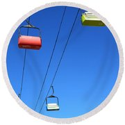 Chairlift Cars Round Beach Towel