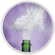 Champagne Cork Popping Round Beach Towel by Ted Kinsman