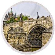 Charles Bridge And Prague Castle Round Beach Towel