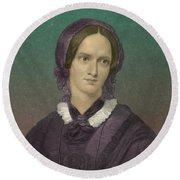 Charlotte Bronte, English Author Round Beach Towel