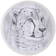 Cheeta Watching Round Beach Towel