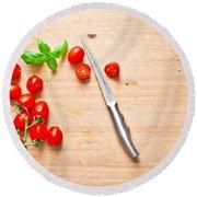Cherry Tomatoes Round Beach Towel by Tom Gowanlock