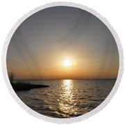 Chesapeake Bay Sunset Round Beach Towel