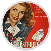 Chesterfield Cigarette Ad Round Beach Towel