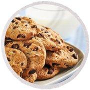 Chocolate Chip Cookies And Milk Round Beach Towel