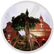 Christ Church In Melaka In Malaysia Round Beach Towel