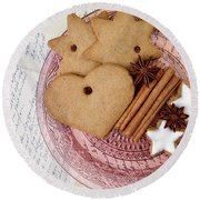 Christmas Gingerbread Round Beach Towel by Nailia Schwarz