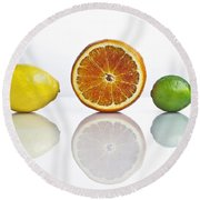 Citrus Fruits Round Beach Towel by Joana Kruse