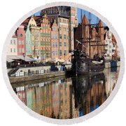 City Of Gdansk Round Beach Towel