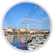City Of Split In Croatia Round Beach Towel