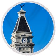 Clarksville Historic Courthouse Tower Round Beach Towel