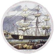 Clipper Ship, 1851 Round Beach Towel