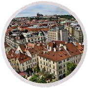 Clock Tower View - Prague Round Beach Towel