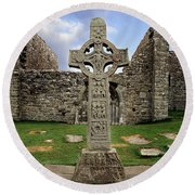 Clonmacnoise, Co. Offaly, Ireland Round Beach Towel