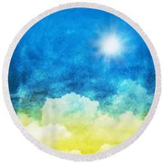 Cloud And Sky Round Beach Towel