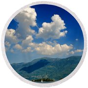 Clouds And Mountain Round Beach Towel