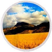 Clouds In The Mountains Round Beach Towel