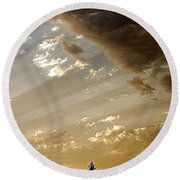 Clouds Of A Storm Round Beach Towel