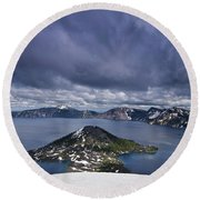 Clouds Over Crater Lake Round Beach Towel