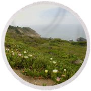 Coastal View Mist Round Beach Towel