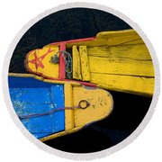 Colorful Boats, Srinagar, Dal Lake Round Beach Towel