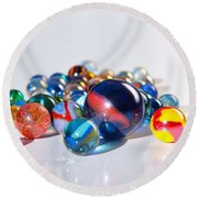 Colorful Marbles Round Beach Towel by Carlos Caetano