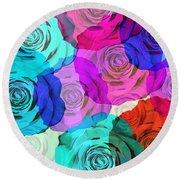 Colorful Roses Design Round Beach Towel by Setsiri Silapasuwanchai