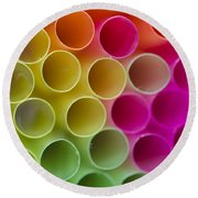 Colorful Straws Round Beach Towel