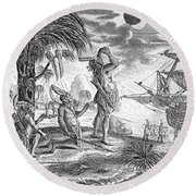 Columbus: Jamaica, 1504 Round Beach Towel