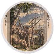 Columbus: Native Americans Round Beach Towel